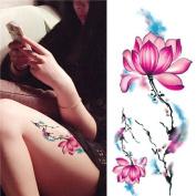 1 Sheet Waterproof Temporary Tattoo Sticker Watercolour Lotus Pattern DIY Arm Body Art Decal