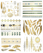 Bhbuy Premium Metallic Tattoos - 75+ Shimmer Designs in Gold, Silver, Black & Turquoise - Temporary Fake Jewellery Tattoos - Bracelets, Feathers, Wrist & Arm Bands