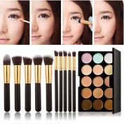 Cool7 10PC Makeup Brush Set with 15 Colours Pro Contour Face Cream Makeup Cosmetic Concealer Palette