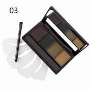 DE'LANCI 4 Colours Eyebrow Powder Wax Contour Kit Cosmetic Shading Contouring Eyebrow Makeup Palette Pro Dark Brown Light Brow Set with Mirror+ Dual Ended Make Up Brush Tool+ 4 x Eye Brow Stencils