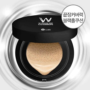 W.lab W-SNOW BB Cushion (not included Refill) Black Hall Cushion Perfect Oil Control Perfect Coverage (#23 C.B Cotton Beige) FREE GIFT! W.Lab WATER BEAM MASK 1pcs