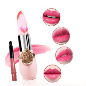 DDLBiz® Translucent Flower Waterproof Colour Changing Long Lasting Moisturise Lipstick Lip Gloss with Lipbrush