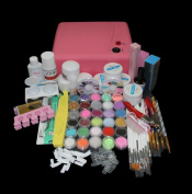 Warm Girl 36W Pink UV Lamp 18 Colour Acrylic Powder Rhinestones UV Gel Nail Art Kit Brush File Tools Set