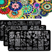 Biutee 10pcs Nail Plates New Flower Leaves Forest Image Plates Nail Stamping Plates Stainless Steel Nail Art Stamp Template Manicure Nail Tools