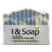 I & SOAP, Triple Butter-Acai Berry Soap - 100% Natural & Organic Materials - Handcrafted Herbal Soap - Gentle and Effective Facial, Hand and Body Cleansing Soap Bars - Triple Butter-Acai Berry