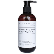 Matrixyl 3000 + Vitamin C Serum with Organic Hyaluronic Acid 240ml - Lighten Sun Damage, Ageing Lines, and Wrinkles - Beautiful Skin Protection & Restoration - Asterwood Naturals - 240ml Amber Pump Bottle