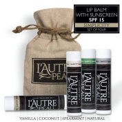 SPF 15 Luxury Lip Balm by L'AUTRE PEAU | Coconut, Natural, Spearmint & Vanilla Flavours - Special 4 Pack Gift Set | Moisturiser with Sun Protection | The Simplicity Set