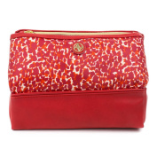 Adrienne Vittadini Women's Travel Cosmetic Case Red Leopard Print