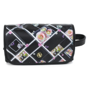 Adrienne Vittadini Women's Hanging Cosmetic Organiser Black Floral Print