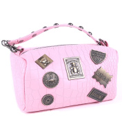 Micom Vintage Copper Badges Studded Faux Crocodile Leather Cosmetic Bags with Convertible-strap
