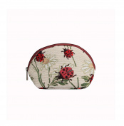 Signare Womens Fashion Canvas Tapestry Cosmetic Make-up Bag in Ladybird Design