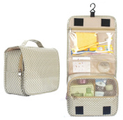 WODISON Portable Hanging Toiletry Kit Bag Travel Cosmetic Makeup Organiser Case, Large Capacity, Apricot Dot
