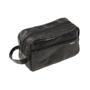 Italian Stone Design Genuine Leather Travel Toiletry Shaving Bag/ Black