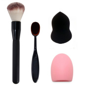 Makeup Brushes Set--Cosmetic Cream Power Blush,Foundation Brush,Brush Cleaning Scrubber Board and Sponge Puff