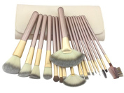 Wehous 18PCS Makeup Wooden Handle Brushes Set Foundation Lip Cheek Eye Eyebrow Brush