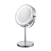 ALHAKIN 18cm 360° Cosmetic Makeup Mirror,Bouble side mirror,10x,LED Lighting,Chrome finished