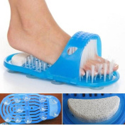 1-Pc Goodly Popular Clean Brush Massager Slippers Hard Dead Smoothy Care Pedicure Clean Bath Shoe Colours Blue