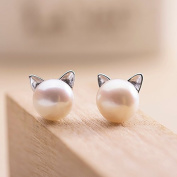 925 sterling silver simulated pearl stud earring white fashion round jewellery women