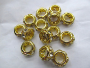 large hole- 50pcs 14mm Micro Pave CZ Brass European Bead Cubic Zirconia Rondelle Pinwheel Buttone Gold Silver Findings