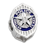 Dallas Police Charm (DPD) - Sterling Silver - Fits Pandora Bracelet