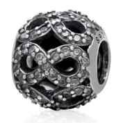 Leobeads Round Ball 8 Zircon Number Charms Beads 925 Sterling Silver Hollow Out Bead Fit Pandora Bracelet