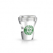 truecharms Silver Green Coffee Cup to Go Charm Beads Dangle Jewellery Fits Pandora Charms Bracelets