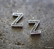 Foxy Findings Silver Plated Brass Letter Z Unique Zirconia Initial Charm - Set of 1 - INTS-Z