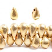 12x7mm 22kt Gold plated Brushed Tear Drop Beads 8 inch 50 pieces