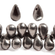 12x7mm Black Gold plated Brushed Tear Drop Beads 8 inch 50 pieces