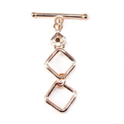 30x12.5mm Rose Gold plated Square Toggle with Citrine 1 finding