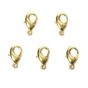 15mm 22kt Gold plated Lobster Clasp Set of 5