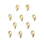10mm 22kt Gold plated Brushed Lobster Clasp Set of 10