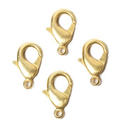 20mm 22kt Gold plated Brushed Lobster Clasp Set of 4