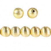 10mm 22kt Gold plated Copper Brushed Round Bead 8 inch 22 pieces