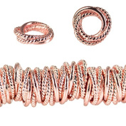 10mm Rose Gold plated Copper Twist and Plain Mobius Spacer Bead 8 inch 86pc