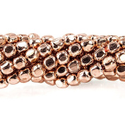 2.5mm Rose Gold plated Plain Cube Bead 8 inch 66 beads