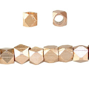 3mm Rose Gold plated Plain Faceted Nugget Bead 8 inch 66 beads