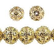 8mm 22kt Gold plated Copper Round Bali Beads 8 inch 27 beads