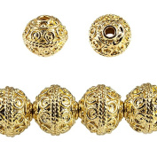 8mm 22kt Gold plated Copper Round Beads 8 inch 28 beads