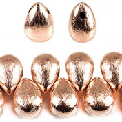 10x7mm Rose Gold plated Copper Brushed Tear Drop Beads 8 inch 46 pieces