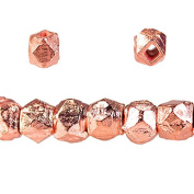 4mm Rose Gold plated Copper Faceted Nugget Beads 8 inch 75 pieces