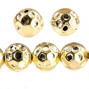 12mm 22kt Gold plated Copper Large Hole Honeycomb Round Beads 9 pieces