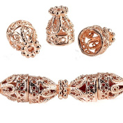 12x10mm Rose Gold plated Copper Cone Filigree and Miligrain Top 18 beads