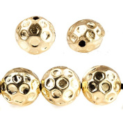 14mm 22kt Gold plated Large Hole Honeycomb Coin Beads 7 pieces
