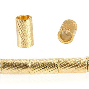 3mm 22kt Gold plated Copper Brushed Tube Beads 37 beads