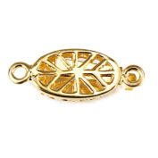 10mm 22kt Gold plated Box Clasp Oval Filigree Floral 1 piece