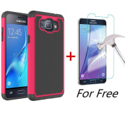 J1 2016 Case, Galaxy Amp 2 Case, Galaxy Express 3 Case, MCUK [Shock Absorption] Hybrid Dual Layer Armour Defender Protective Case With Tempered Glass Screen Protector