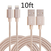 iPhone Cable, MCUK 2 Pack 3m Lightning Cable Charging Cord Nylon Braided Apple USB Cable Data Sync Cable 8 Pin Cable for iPhone 6s, 6s plus, 6plus, 6,5s 5c 5,iPad Mini, iPad5 (3m-2Pcs)Gold