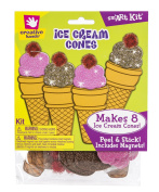 Creative Hands by Fibre-Craft - 8 Easy-to-Make Foam Ice Cream Cones - Arts and Crafts - No Glue or Scissors Required - For Ages 3 and Up