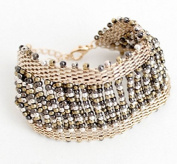 mywaxberry golden alloy dress accessory tiara ring handmade woven beads bracelet